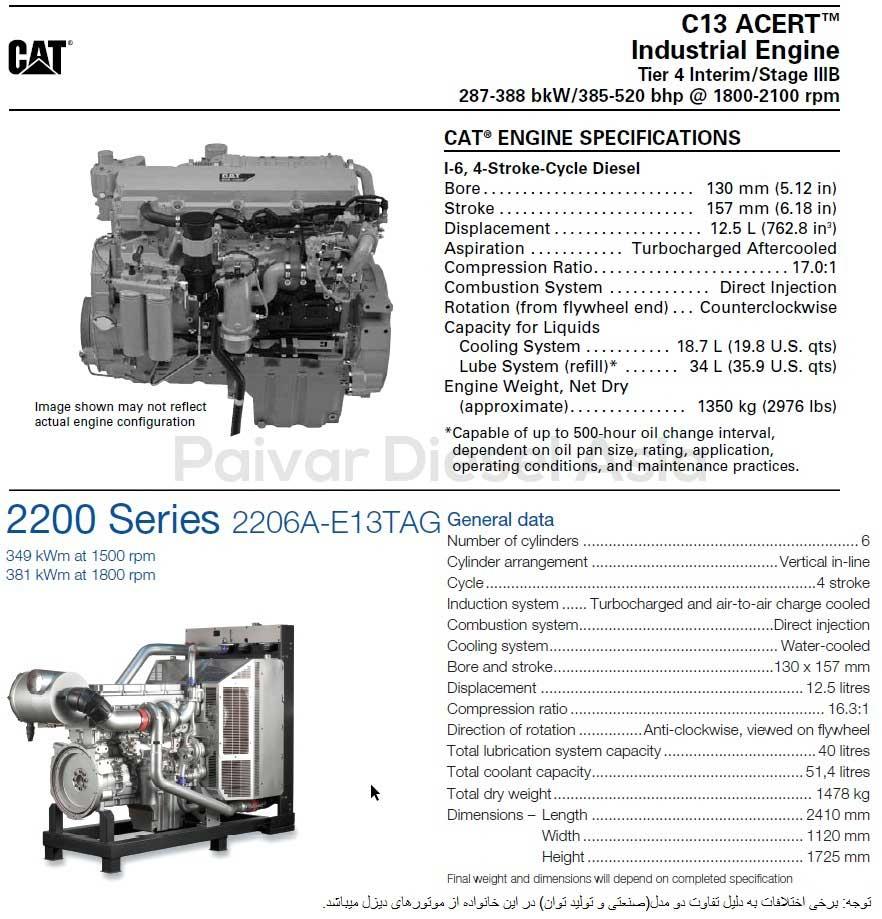 مشخصات موتور کاترپیلار